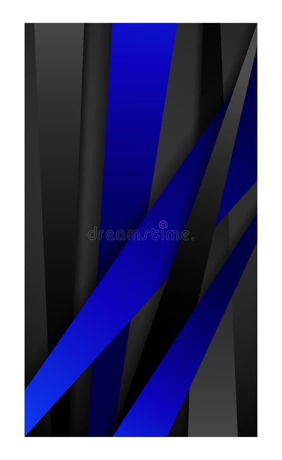Banner abstracte achtergrond voor het behangsmartphone van het smartphonemobiele web tablet_black en blauw stock illustratie