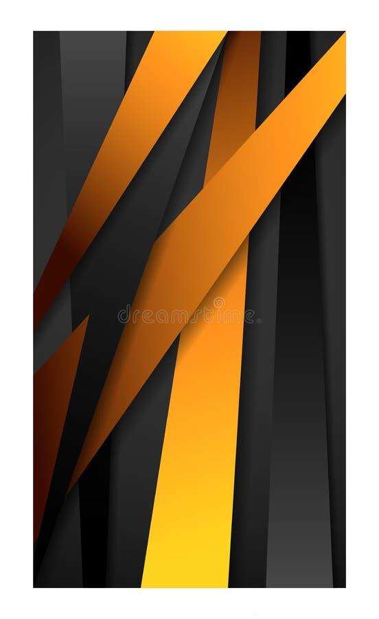 Banner abstracte achtergrond voor het behangsmartphone van het smartphonemobiele web tablet_black en geel stock illustratie