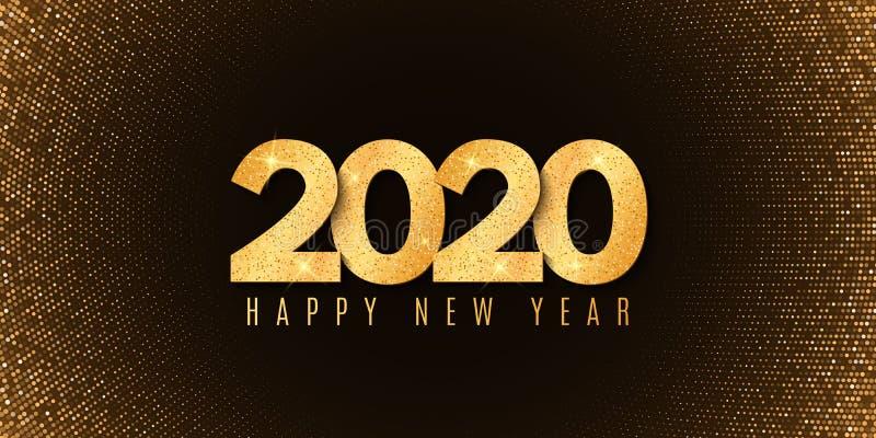 Banner abstrato para Happy, ano novo 2020 Design de fluidos Padrão de brilho de meio tom Números de brilho dourado Cobertura fest imagens de stock