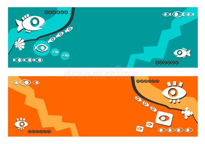 banner, achtergrond - vat samen, etnisch, vissen, ogen, blauwe achtergrond, oranje gestileerde achtergrond, modieus, vector illustratie