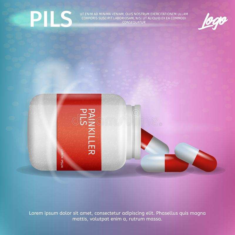 Banner Advertisement Packaging Painkiller Pils royalty free illustration