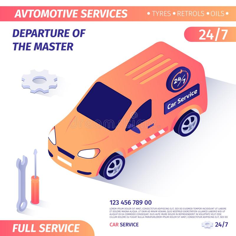 Banner Advertises Departure of Master for Repair royalty free illustration