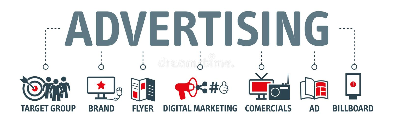 Advertising vector illustration concept with icons. Banner advertising, print and web marketing vector illustration concept with icons stock illustration