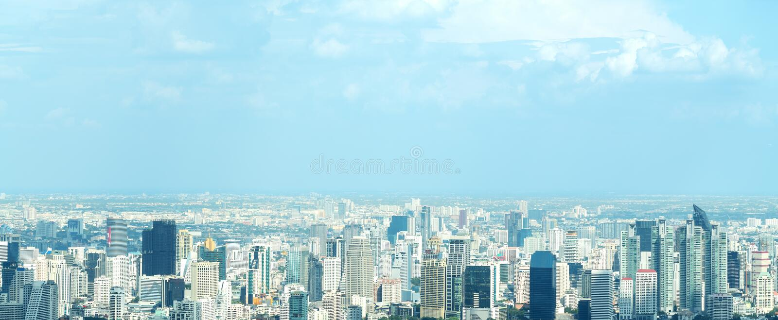 Banner of Aerial view cityscape of modern city in Bangkok. Urban landscape of Center business of thailand in Panoramic view. City royalty free stock image