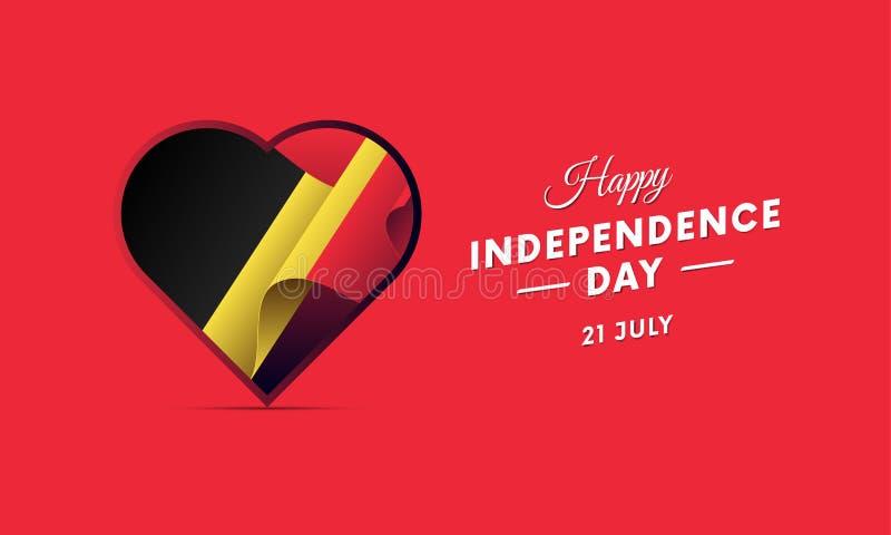 Banner of affiche van de viering van de de onafhankelijkheidsdag van België Golvende Vlag Vector illustratie stock illustratie