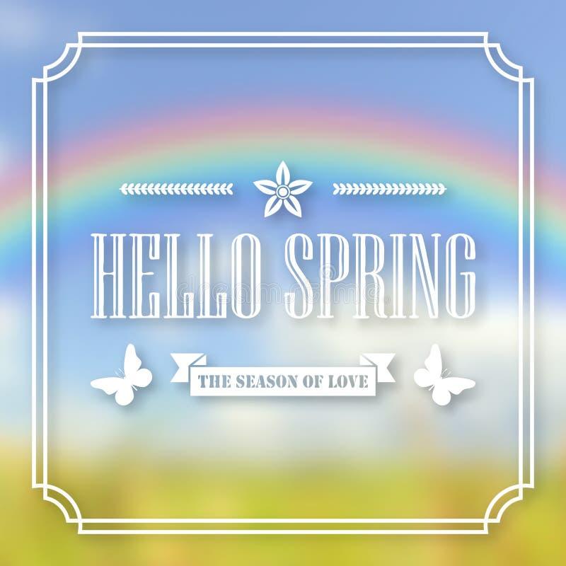 Banner, affiche voor ontwerp Hallo de lente Welkom Tegen de achtergrond van een onscherpe hemel, een groen gazon, en een regenboo vector illustratie