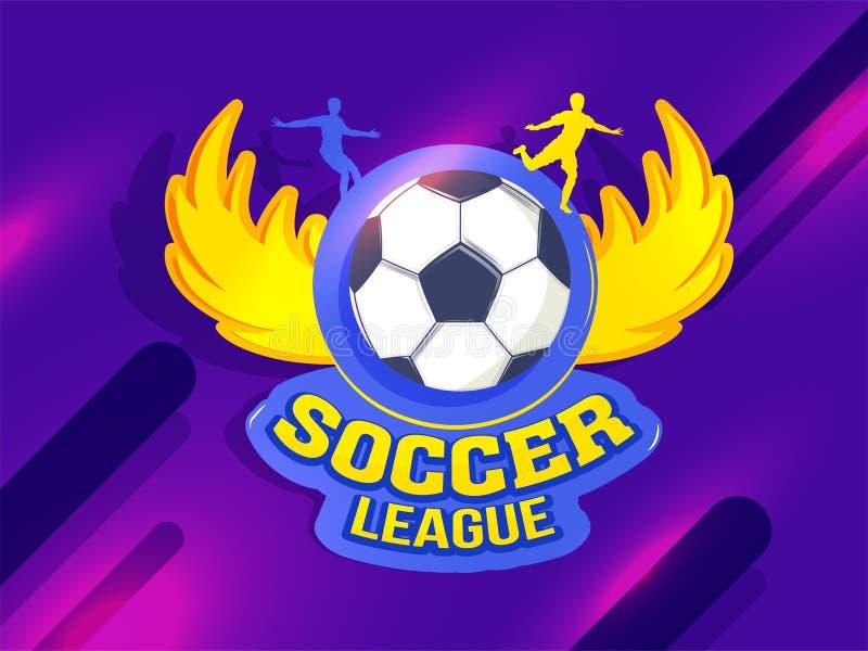 Banner of afficheontwerp met illustratie van Voetbalbal die met vliegende vleugels op glanzende futuristische technologie wordt b vector illustratie