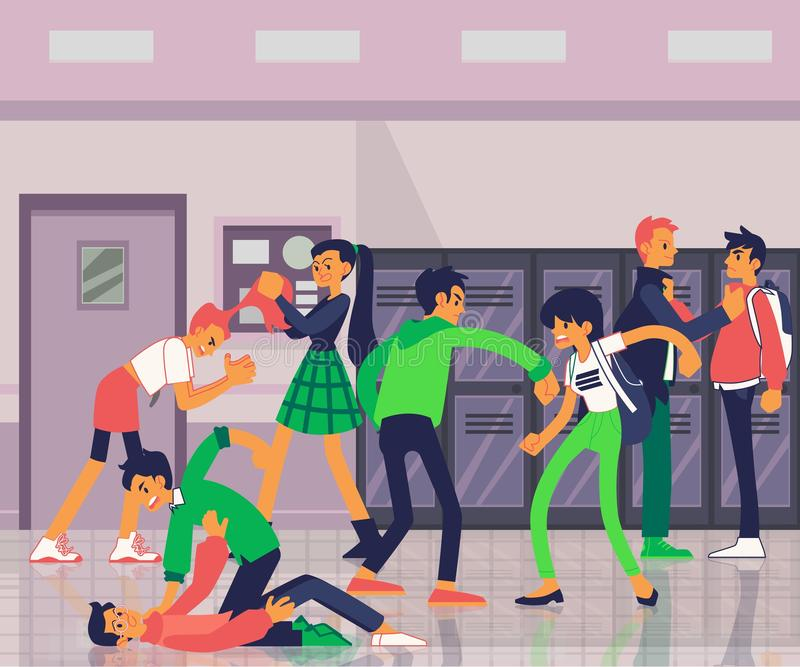 Banner with aggressive teenagers bullying and fighting flat vector illustration. vector illustration