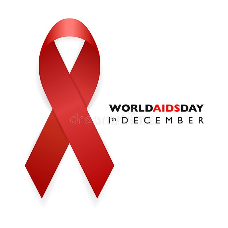 Banner with Aids Awareness Red Ribbon. Aids Day concept. royalty free illustration