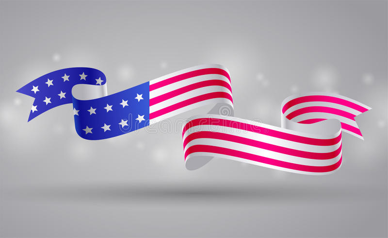 Banner with american flag ribbon. USA flag symbol. 4 July. Banner with american flag ribbon. USA symbol of Independence and memorial Day. 4 July. JPG include vector illustration