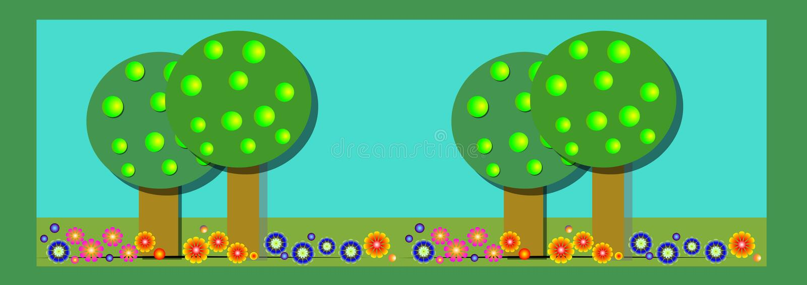 Banner appletrees and flowers. Banner / header / illustration with decorative apple trees and colorful flowers royalty free illustration