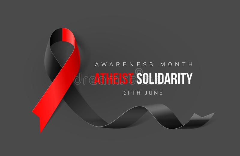 Ribbon Symbol. Banner with Atheist Solidarity Awareness Realistic Ribbon. Design Template for Info-graphics or Websites Magazines royalty free illustration