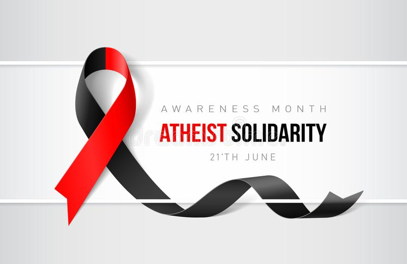 Ribbon Symbol. Banner with Atheist Solidarity Awareness Realistic Ribbon. Design Template for Websites Magazines stock illustration