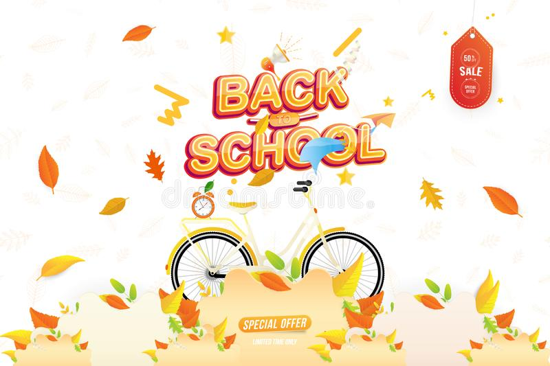 Banner Back to School. Autumn Sale 50 special offer with women city bicycle with colorful seasonal fall leaves, paper airplane and. Loudspeaker. Festive poster stock image
