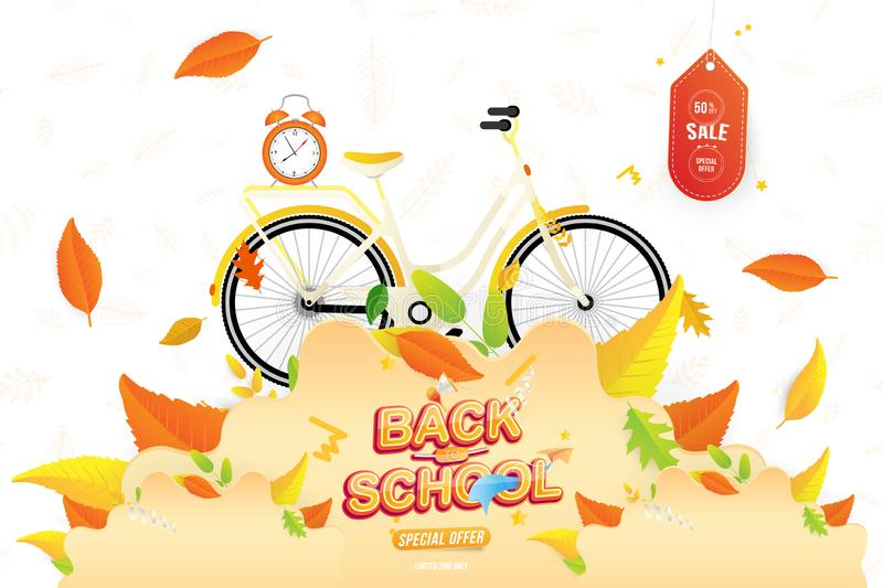 Banner Back to School. Autumn Sale 50 special offer with women city bicycle with colorful seasonal fall leaves, paper airplane and. Loudspeaker. Festive poster stock photos