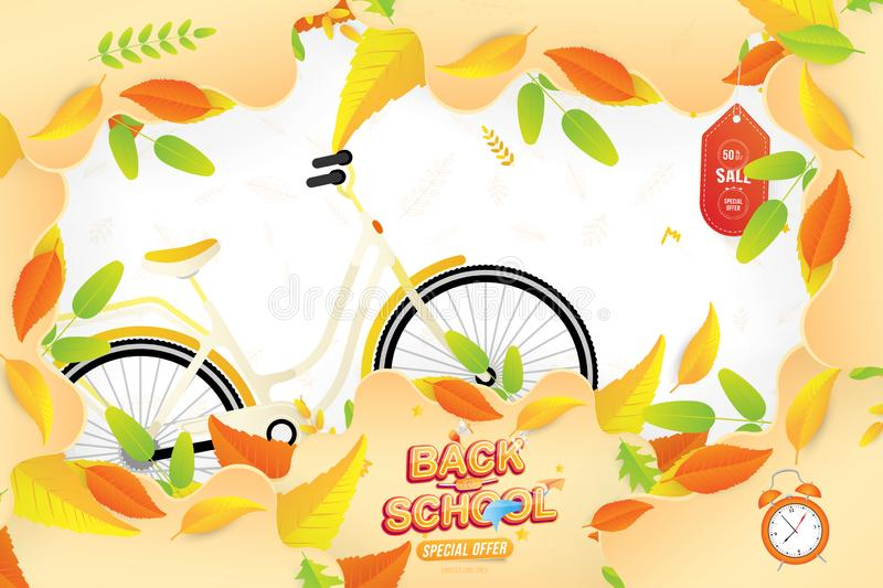 Banner Back to School. Autumn Sale 50 special offer with women city bicycle with colorful seasonal fall leaves, paper airplane and. Loudspeaker. Festive poster stock illustration