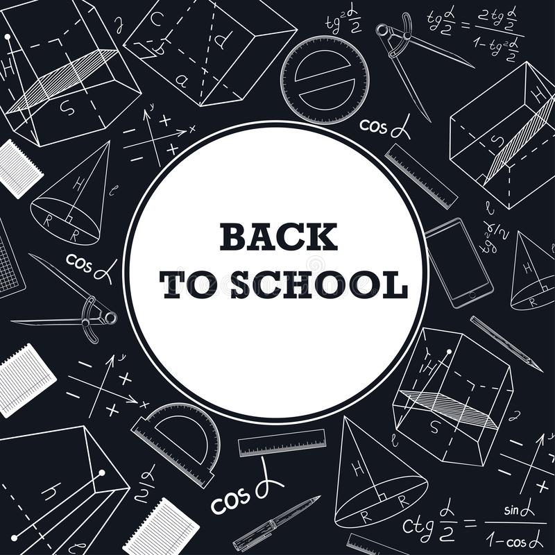 Banner back to school with a picture of school supplies on a chalkboard. vector illustration
