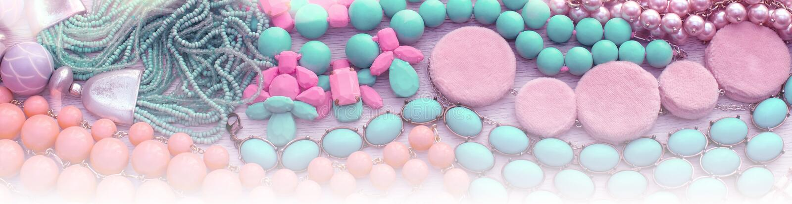 Banner background Set of jewelry, necklace, bracelets, scarf. stock illustration