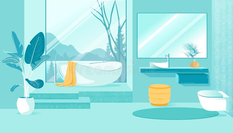 Banner Bathroom Interno con punti di vista di montagna royalty illustrazione gratis