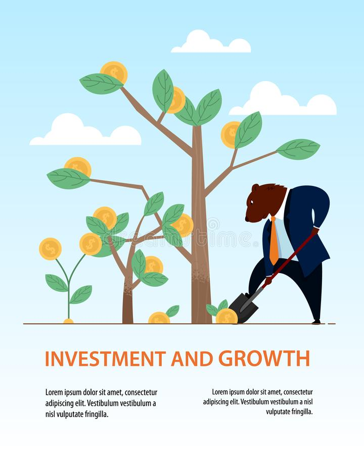 Banner Bear Dig Shovel Tree Business Investment. Data Diagram Trade Income Statistic. People Sell Dollar on Stock Market. Global Finance Transaction Technology vector illustration