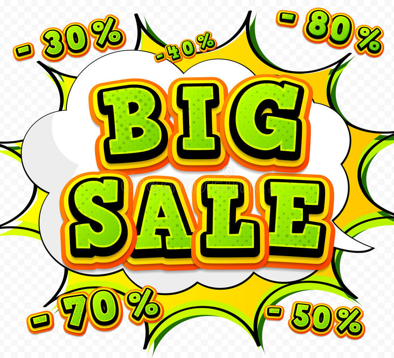 Banner big sale, discount. Pop Art Style, comic book stock illustration