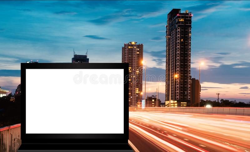 Banner or billboard advertising in the city stock photo