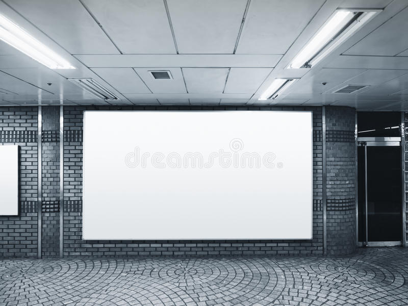 Banner Billboard Public Space Building indoor. Banner Billboard Media in Public Space Building indoor Black and white stock image