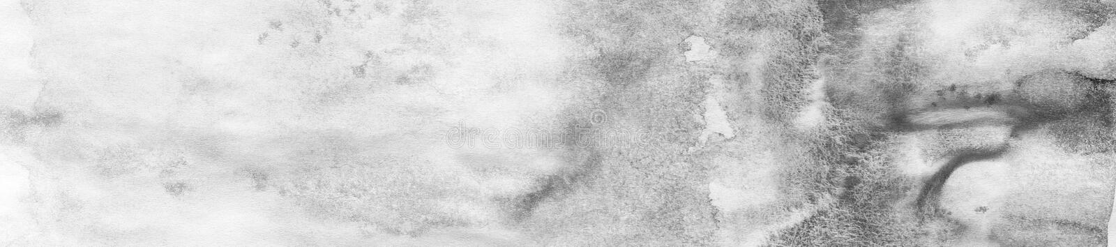 banner of Black abstract watercolor macro texture background. Abstract aquarelle texture grayscale backdrop stock illustration
