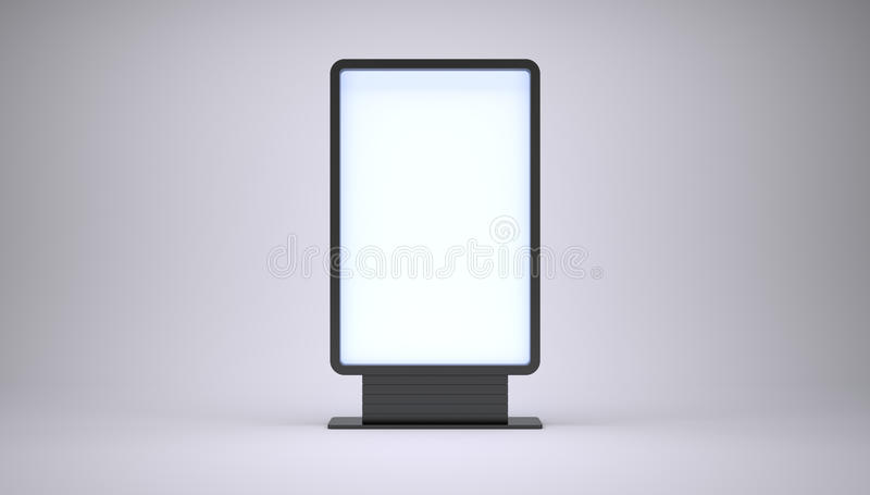 Banner with blank screen. On white background. 3D rendering royalty free stock photos