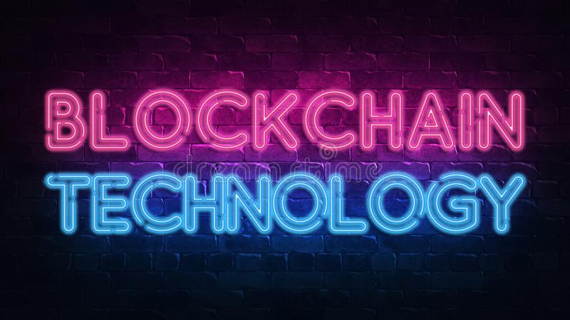 Banner with blockchain neon signboard. Digital technology concept. Bitcoin cryptocurrency. Decoration element. Modern line style. stock photos