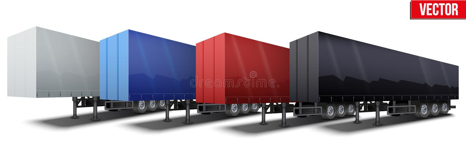 Banner of blue parked semi trailer royalty free illustration