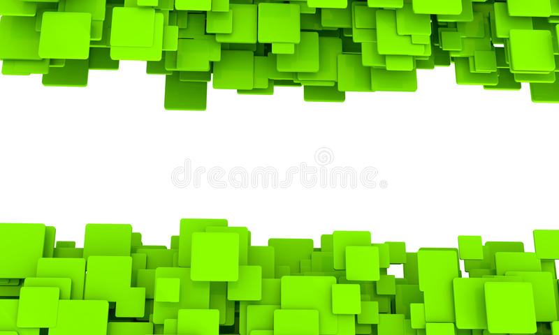 Banner with borders of green cubes stock illustration