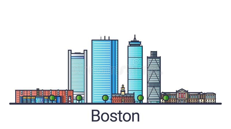 Flat line Boston banner. Banner of Boston city in flat line trendy style. Boston city line art. All buildings separated and customizable vector illustration