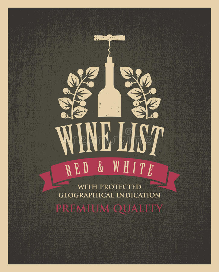 Banner with a bottle of wine. And the text on the background fabric texture in retro style stock illustration