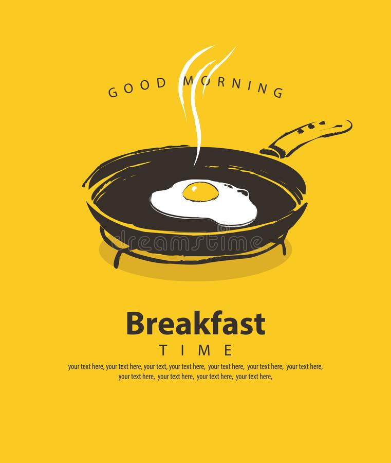 Banner for breakfast with fried egg on frying pan. Vector banner on the theme of Breakfast time with a fried egg on a frying pan, with place for text in retro vector illustration