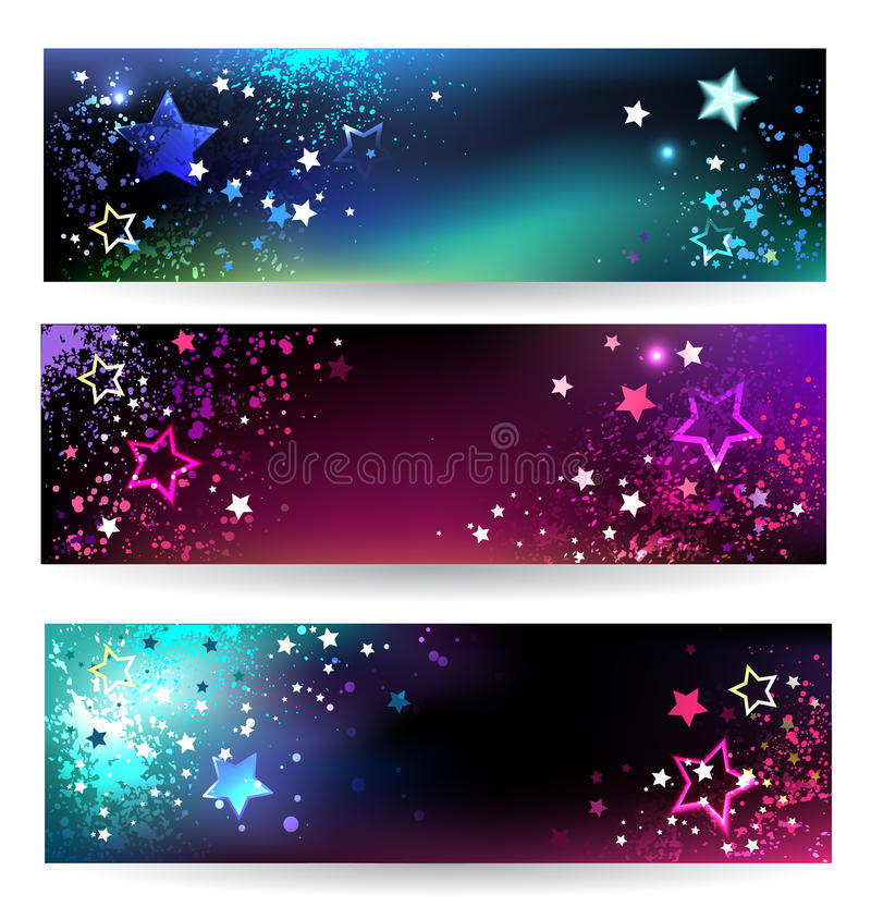 Banner with bright stars royalty free illustration