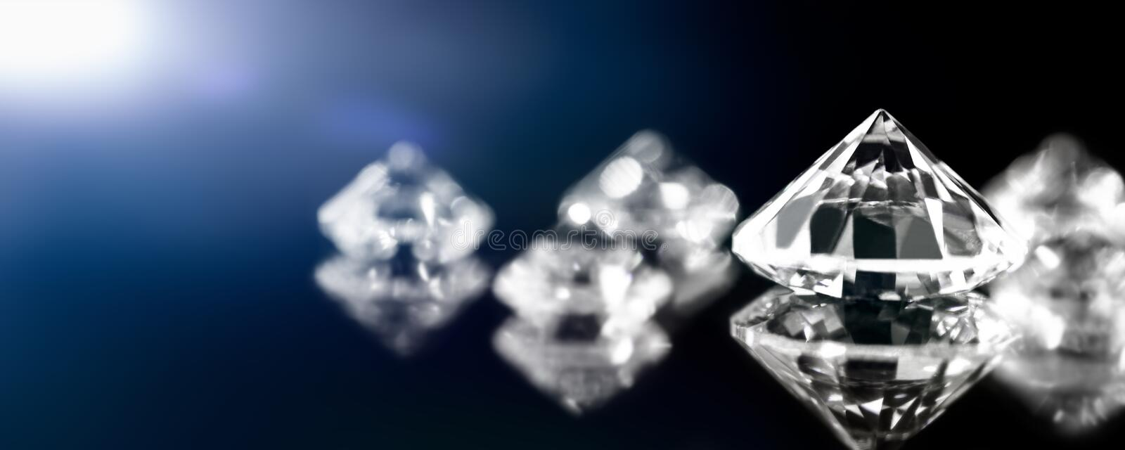Banner, brilliant cut diamonds, flawless and perfect jewelry. Closeup stock image