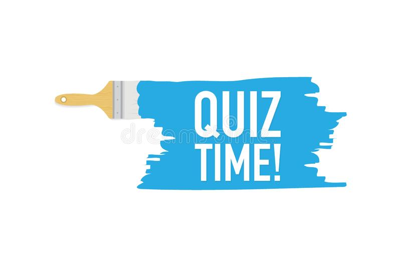 Banner with brushes, paints - Quiz time! Vector illustration. vector illustration