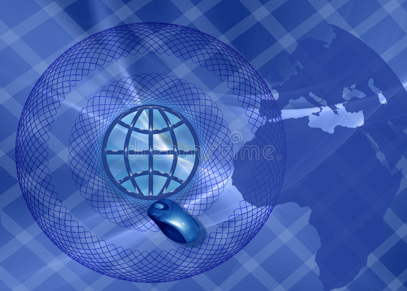 Banner: Business and WW connections. This design has a grid patterned background. The shape of the continent, mouse and the earth symbol are methaphors for world royalty free illustration