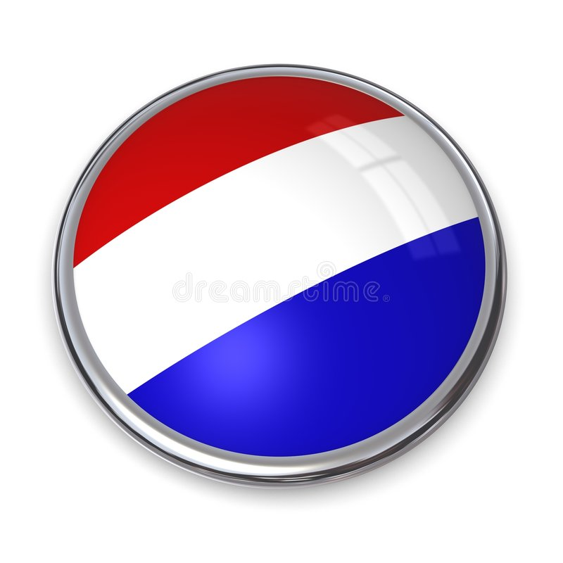 Banner Button Netherlands. Button style banner in 3D stock illustration