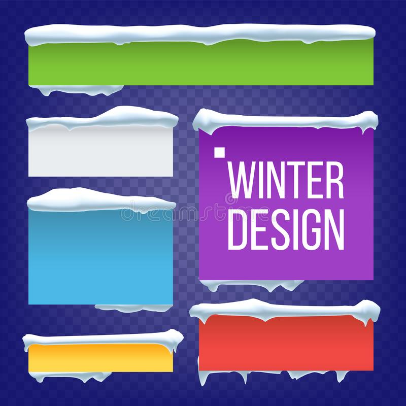Banner, Button With Snow Caps Vector. New Year Winter Ice Element. Frozen Effect Isolated Illustration. Banner, Button With Snow Caps Vector. Holidays Christmas stock illustration
