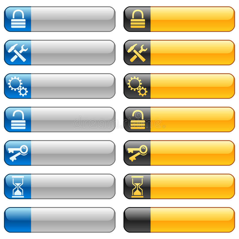 Banner buttons with web icons 7 royalty free illustration