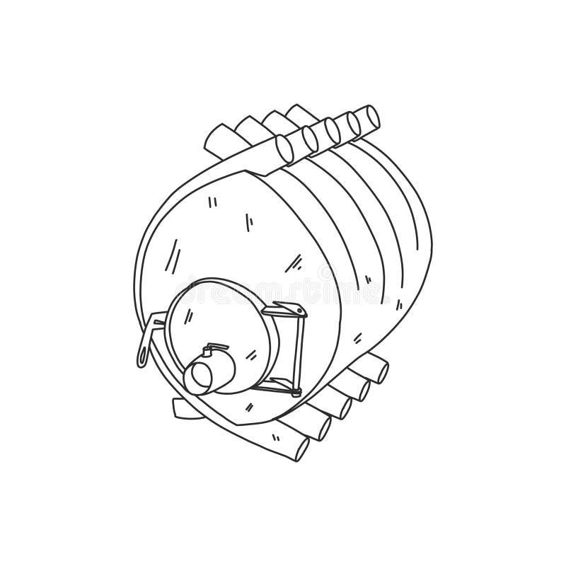 Banner calorifer stove, solid fuel furnace, sketch royalty free illustration