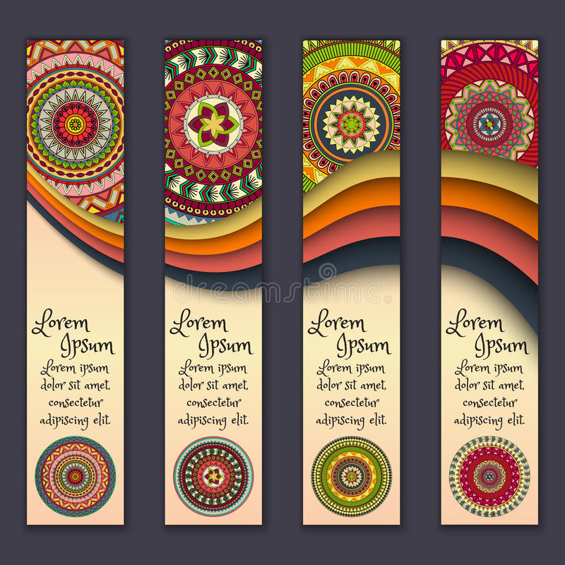 Banner card set with floral colorful decorative mandala elements background. Tribal,ethnic,Indian, Islam, Arabic, ottoman motifs stock illustration