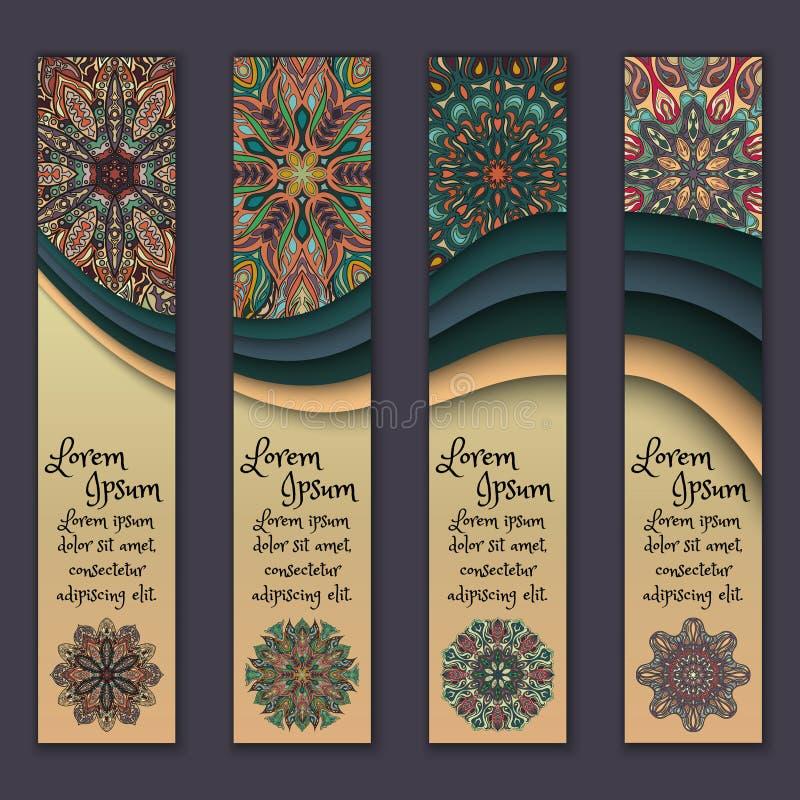 Banner card set with floral colorful decorative mandala elements background. vector illustration