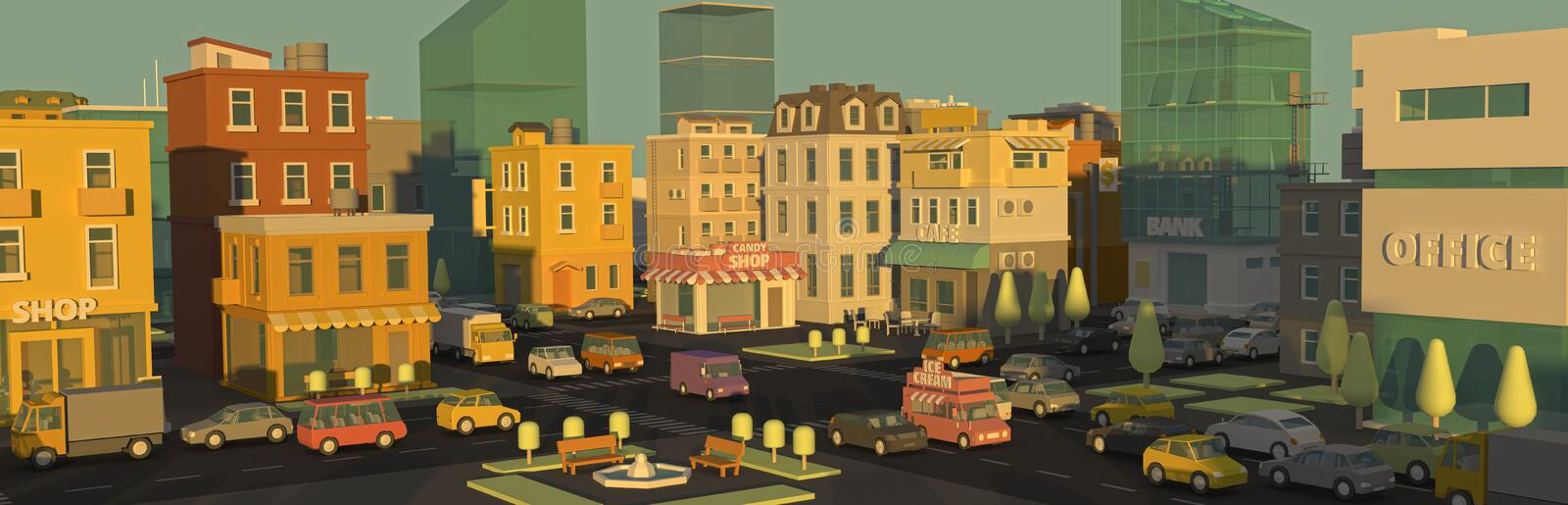 Banner cartoon street panorama city 3d. Outdoor advertising daylight. Very high detail. Cars end buildings. Place for royalty free stock photos