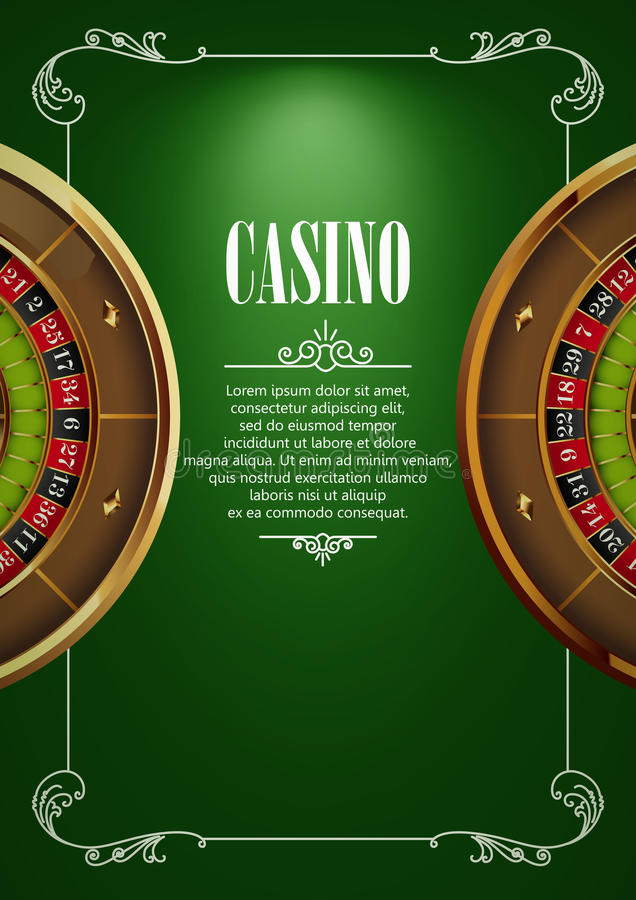 Banner with Casino Logo Badges. Casino Logo Poster Background or Flyer with Roulette Wheel . Banner with Casino Logo Badges. Game Cards on Green Canvas. Playing vector illustration