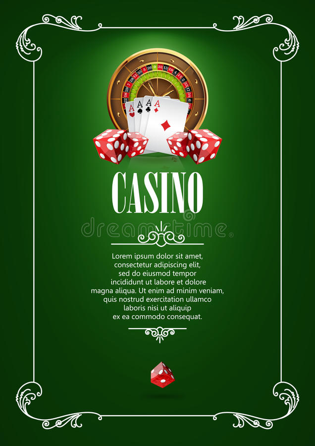 Banner with Casino Logo Badges. Casino Logo Poster Background or Flyer with Roulette Wheel, Playing Cards and Dice. Banner with Casino Logo Badges. Playing royalty free illustration
