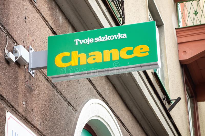 The banner of the Chance Czech betting company where gamers can bet their money on sports events. It shows Tvoje sazkovka text stock photos