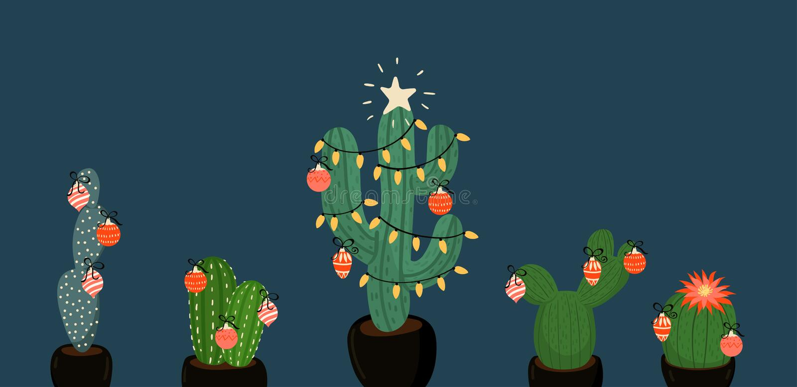 Banner with Christmas decorated cacti. vector image. Banner with Christmas decorated cacti. Vector graphics stock illustration